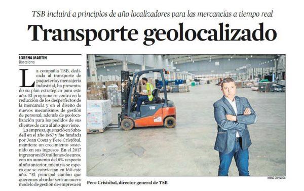 TSB Transporte y logística - Pere Cristóbal entrevista La Vanguardia 20180807